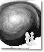 God Stands On A Cloud With His Wife Overlooking Metal Print