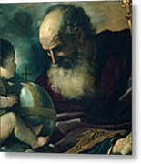God The Father And Angel Metal Print