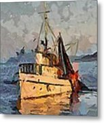 Going To Night Fishing Metal Print