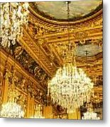 Gold Ceiling And Chandeliers Metal Print