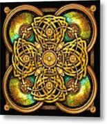 Gold Celtic Cross Metal Print