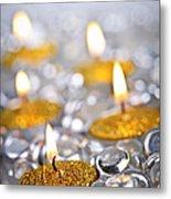 Gold Christmas Candles Metal Print