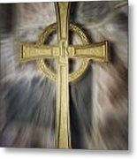 Gold Cross Metal Print