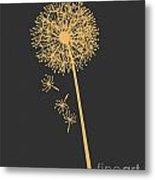 Gold Dandelion Metal Print