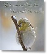Gold Finch On A Snowy Twig With Verse Metal Print