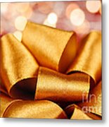 Gold Gift Bow With Festive Lights Metal Print