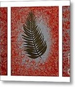 Gold Leaves On Orange Triptych Metal Print