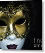 Gold Mask Metal Print