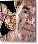Gold Miner With Nugget Metal Print