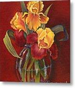Gold N Red Iris Metal Print
