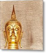 Gold Painted Buddha Statue Metal Print