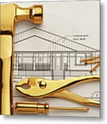 Gold Plated Tools And Blueprints Metal Print