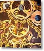Gold Pocket Watch Gears Metal Print by Garry Gay