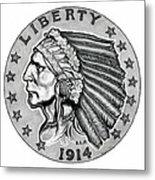 Gold Quarter Eagle Metal Print