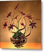 Gold Spirals Glass Flowers Metal Print