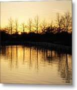 Golden And Peaceful - A Sunset On Lake Ontario In Toronto Canada Metal Print