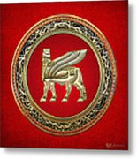 Golden Babylonian Winged Bull  Metal Print