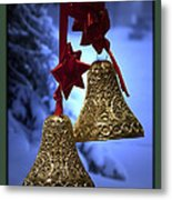 Golden Bells Green Greeting Card Metal Print