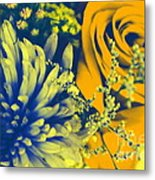Golden Blossoms Pop Art Metal Print