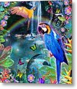 Golden Bluebirds Paradise Version 2 Metal Print