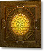 Golden-briliant Sri Yantra Metal Print