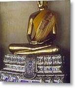 Golden Buddha On Pedestal Metal Print