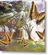 Golden Butterfly Rays Metal Print by Alixandra Mullins
