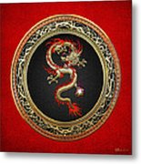 Golden Chinese Dragon Fucanglong Metal Print