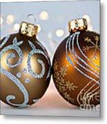 Golden Christmas Ornaments Metal Print