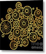 Golden Circles Black Metal Print