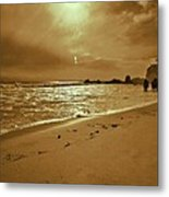 Golden Coast Sunset Metal Print