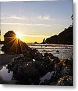 Golden Coastal Sunset Light Metal Print