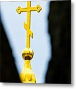 Golden Cross Metal Print