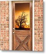 Golden Doorway Window View Metal Print