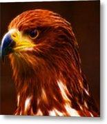 Golden Eagle Eye Fractalius Metal Print