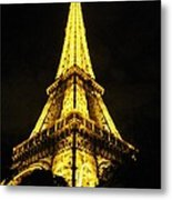 Golden Eiffel Tower Metal Print