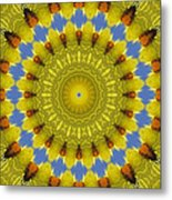 Golden Everlasting Daisy Mandala Metal Print
