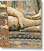 Golden Fingernails On Sitting Buddha At Wat Mahathat In Sukhothai Historical Park-thailand Metal Print