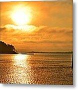 Golden Foggy Sunrise Colors On Santa Rosa Sound At Hurlburt Harbor Metal Print