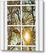 Golden Forest  Branches White 8 Windowpane View Metal Print