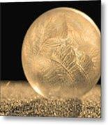 Golden Frozen Bubble Metal Print