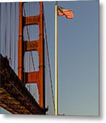 Golden Gate And American Flag Metal Print