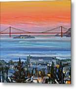 Golden Gate At Twilight Metal Print