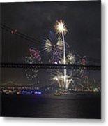 Golden Gate Bridge 75th Anniversary Fireworks With Bridge Silhouette Metal Print