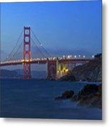 Golden Gate Bridge After Sunset Metal Print