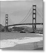 Golden Gate Bridge And Beach Metal Print