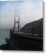 Golden Gate Bridge Pylons In A Mist Metal Print