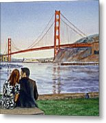 Golden Gate Bridge San Francisco - Two Love Birds Metal Print