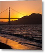 Golden Gate Bridge Sunset Metal Print