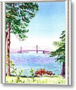 Golden Gate Bridge View Window Metal Print